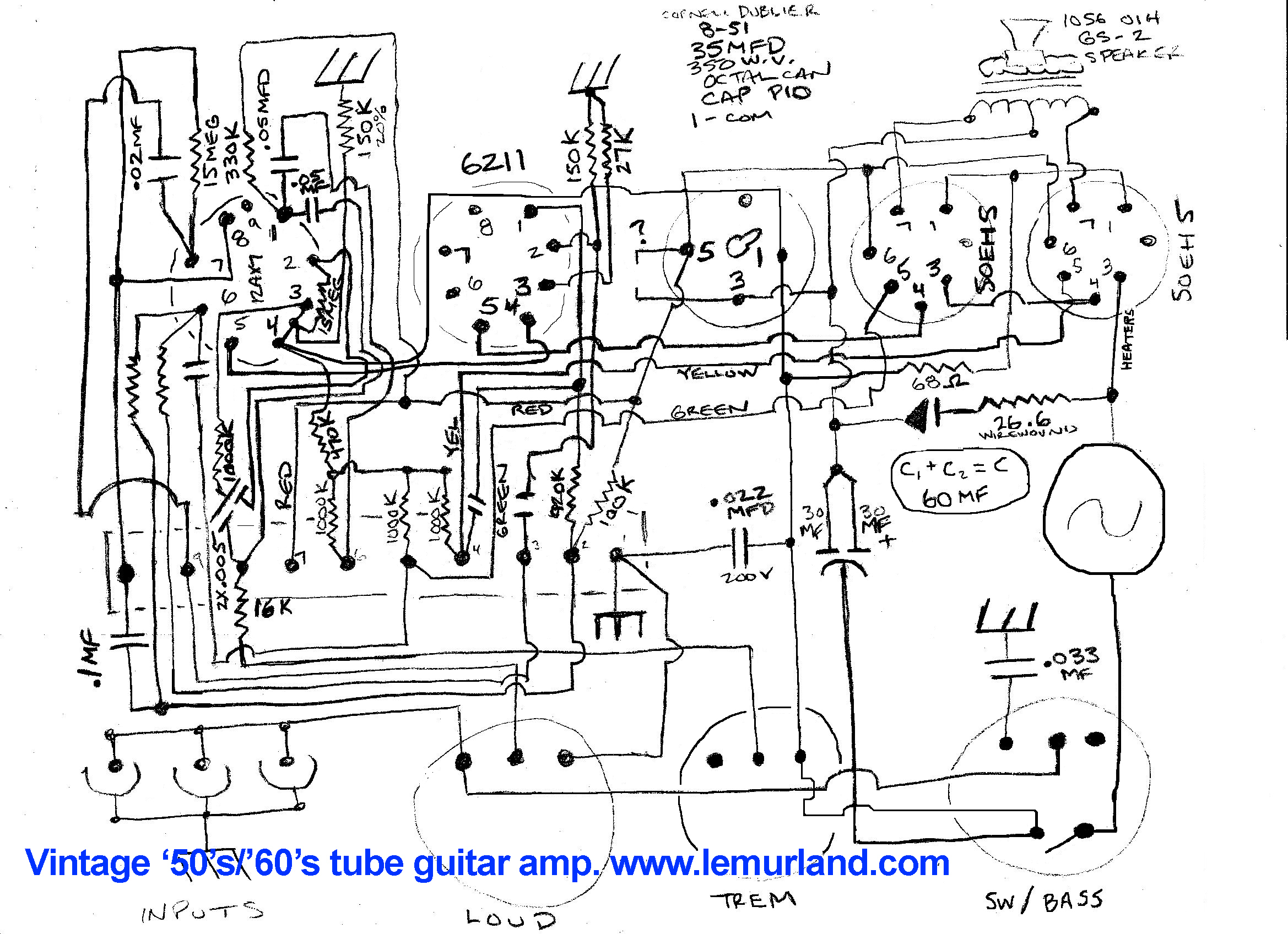 Alembic F 2b Inspired Preamp Clone Tube Schematic 50s 60s 50eh5 Guitar Amp