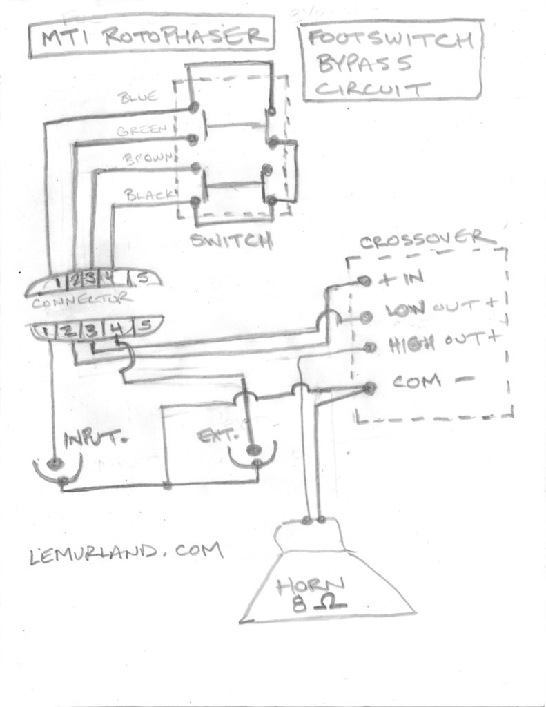 MTI Rotophaser Footswitch Schematic - Bypass Circuit