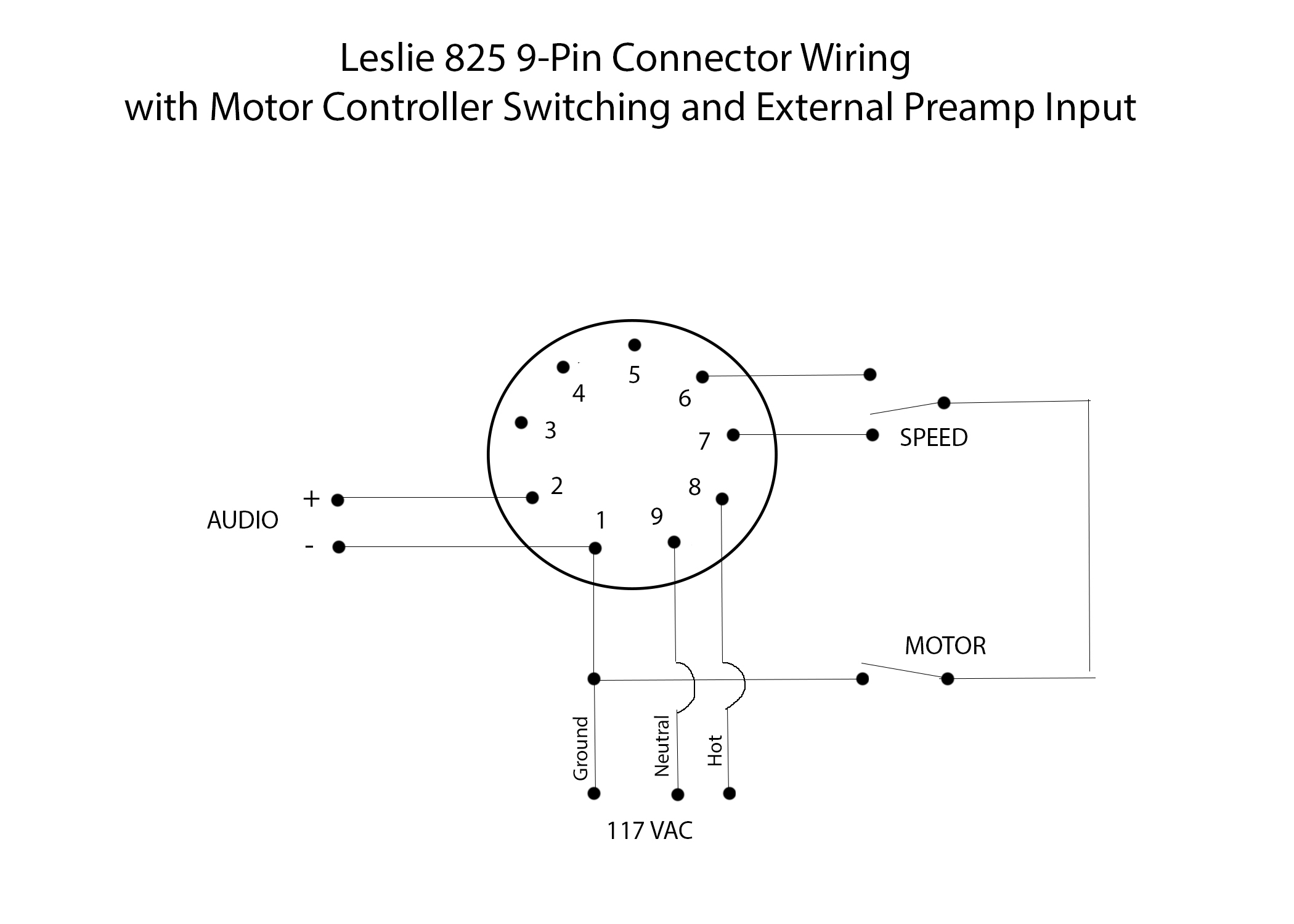 hammond speaker ground wire diagram leslie 825 9 pin connector wiring with motor controller switching  leslie 825 9 pin connector wiring with